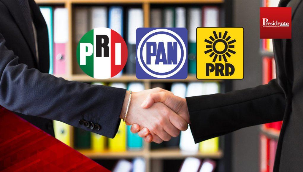 PRI, PAN Y PRD juntos contra MORENA para 2021